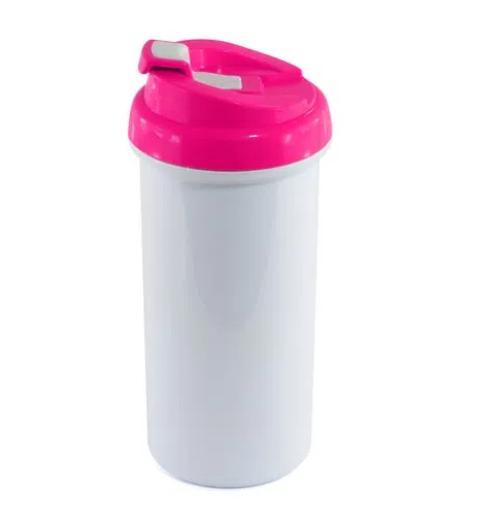 Squeeze de Polímero Branco para Sublimação com Tampa Rosa - 475ml