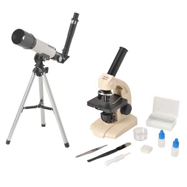 Kit Microscópio Biológico Monocular 70-400x + Telescópio Astronômico 90x