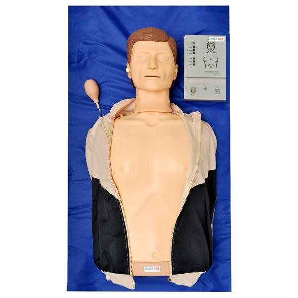 Simulador de torso para treino RCP com painel LED e pulso carotídeo