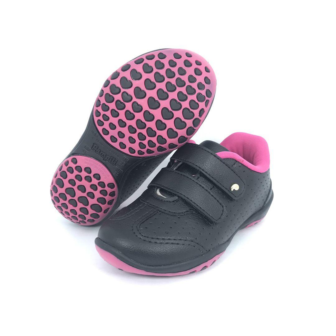 Tênis  infantil Velcro Pampili 169158 Preto/Pink