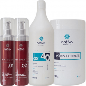 Kit OX 40 Vol + Pó Descolorante + Natplex 01 e 02 Nativa