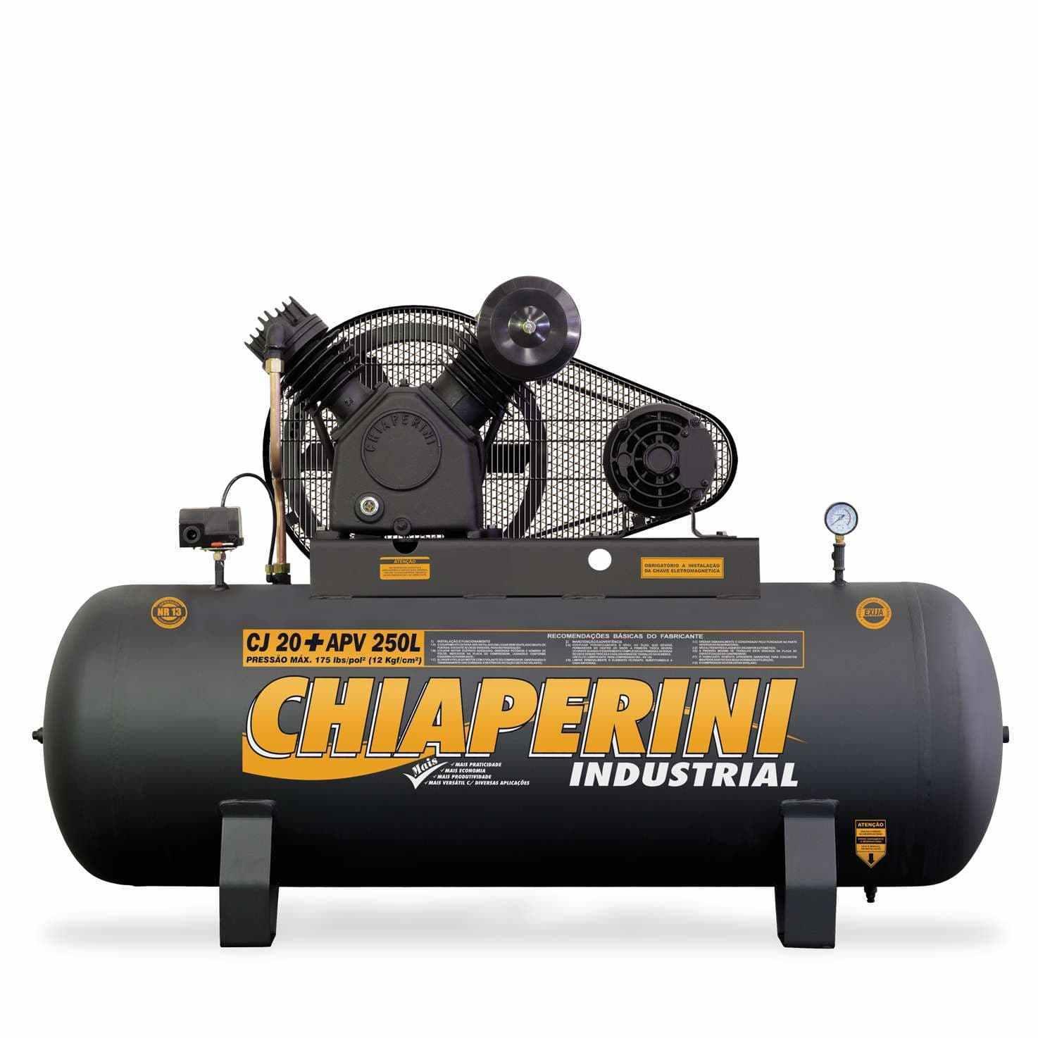 Compressor Trifásico 175psi 20pés 250L 5hp Chiaperini - CJ20 + APV 250L - COD:1080007-1