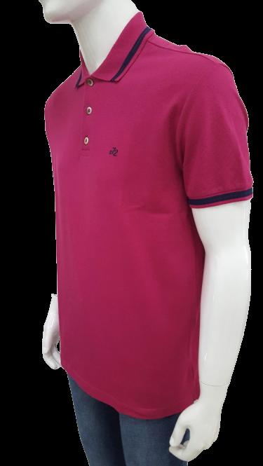 Camisa Polo Ellus Clássica Piquet Rosa Pink com Detalhe Masculino