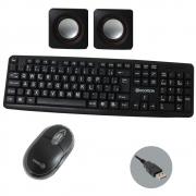 Kit Teclado Hoopson - Mouse Shinka - Caixa de som USB