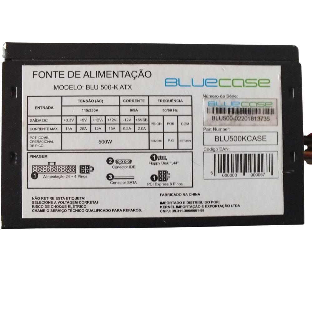 Fonte 500w Atx, Blue Case blu500-K