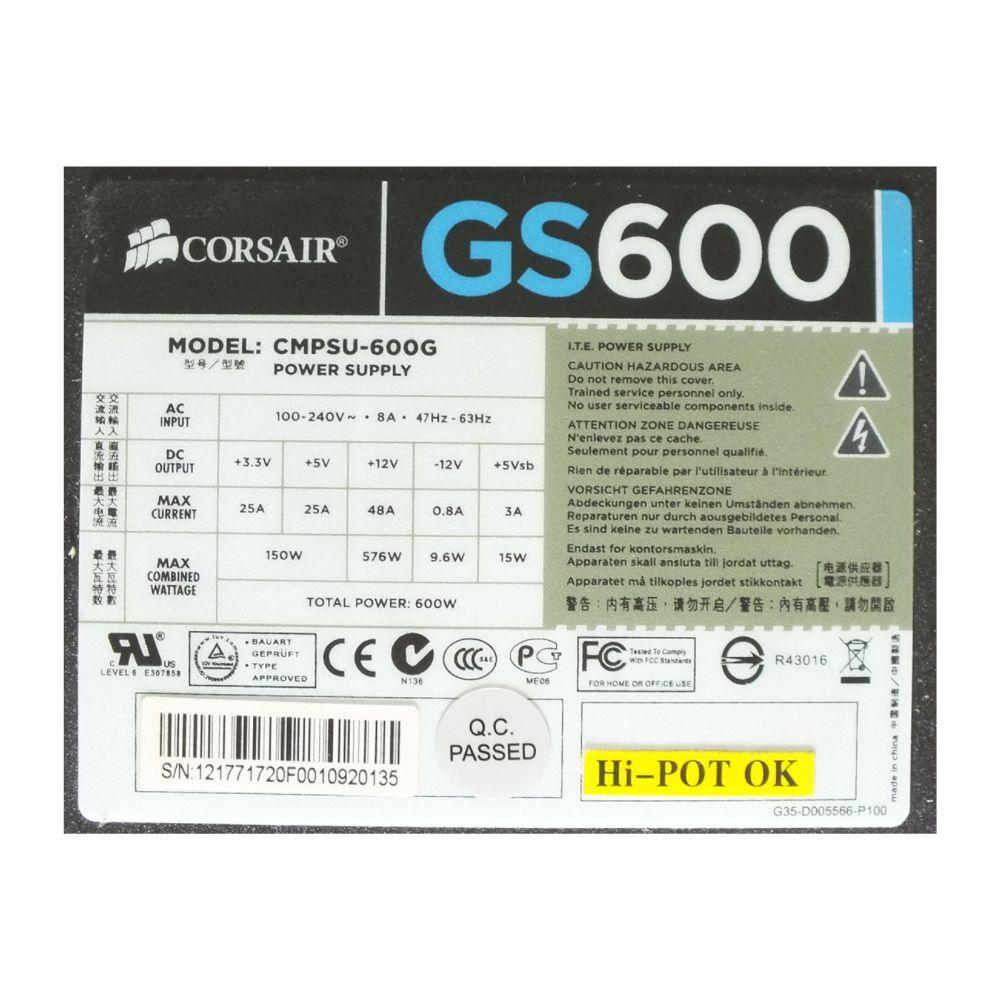 Fonte Alimentação PC Corsair GS600 600W 100V/240V CMPSU-600G