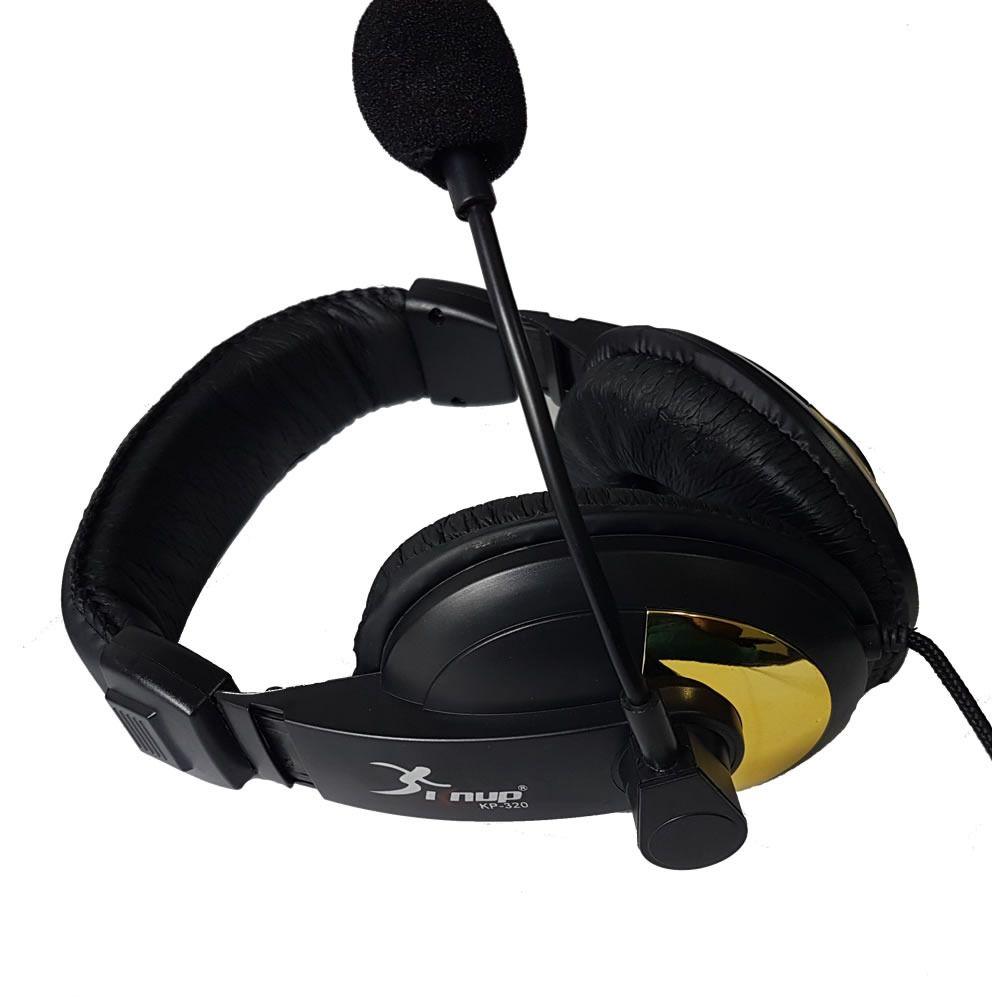 Headphone Headset Fone C/ Microfone Preto / dourado Kp-320