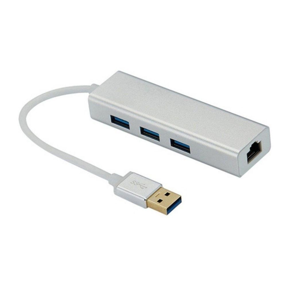Hub Usb 3 Portas 3.0 + Porta Rj45 Ethernet Giga