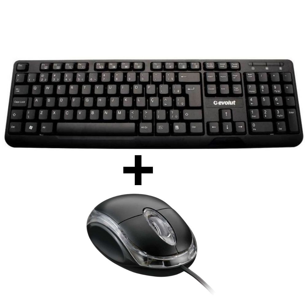 Kit Teclado Usb Com Fio Eo-202 Mouse Shinka 800 DPI USB