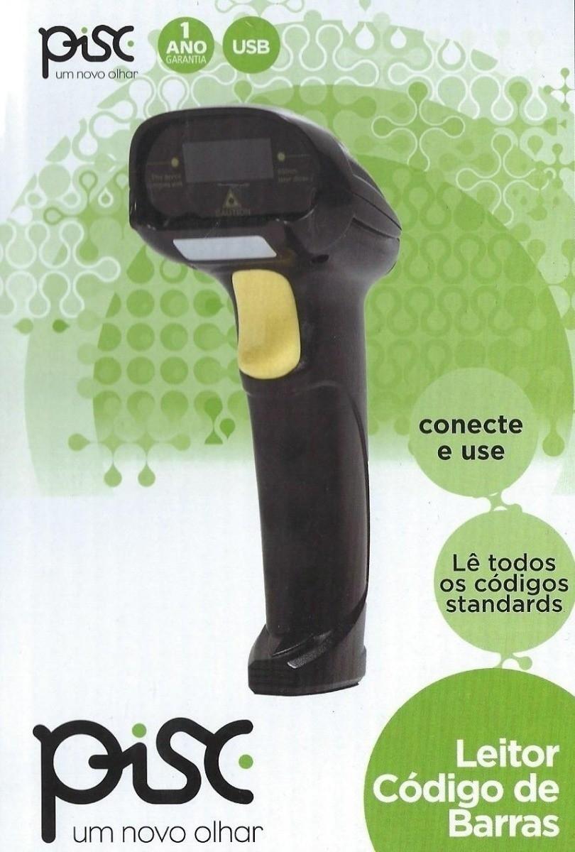 Leitor de Código de Barras Pisc Laser USB Cabo 1,80m S/ Pedestal