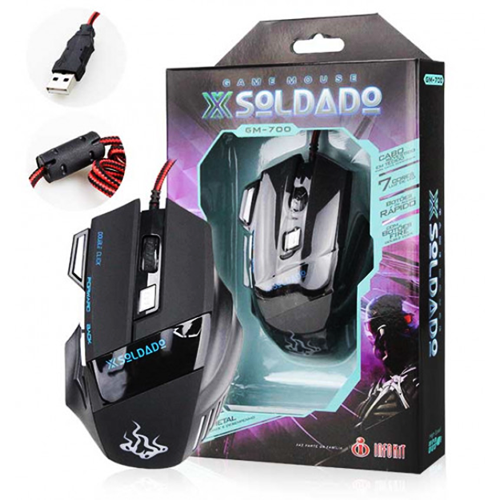 Mouse Gamer Usb Óptico Pc 3000 Dpi Led X Soldado 7d Gm-700