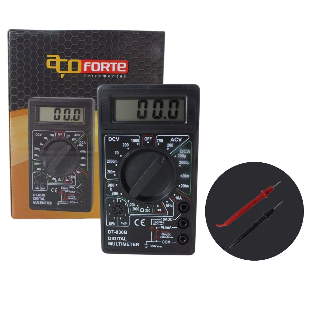 Multímetro Digital DT-830B Profissional Com Cabo Aço Forte