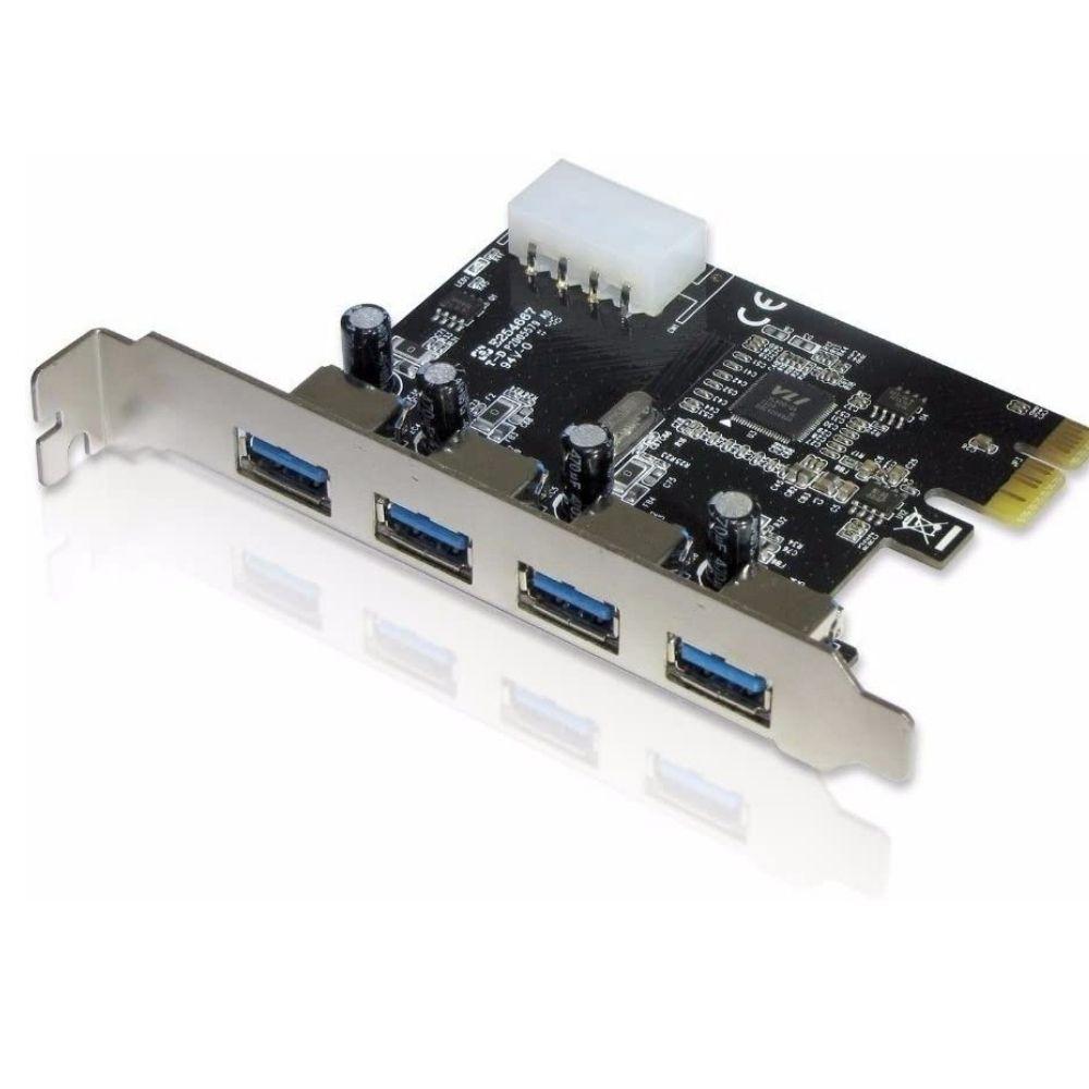 Placa PCI-E 4 Portas USB 3.0 10x Mais Rápido