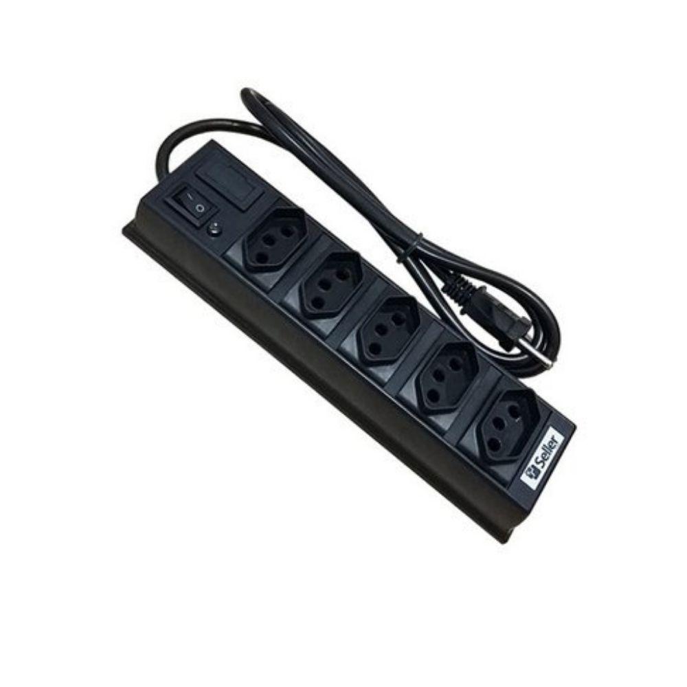 Régua de Energia 5 Tomadas com fusível e botão de ligar