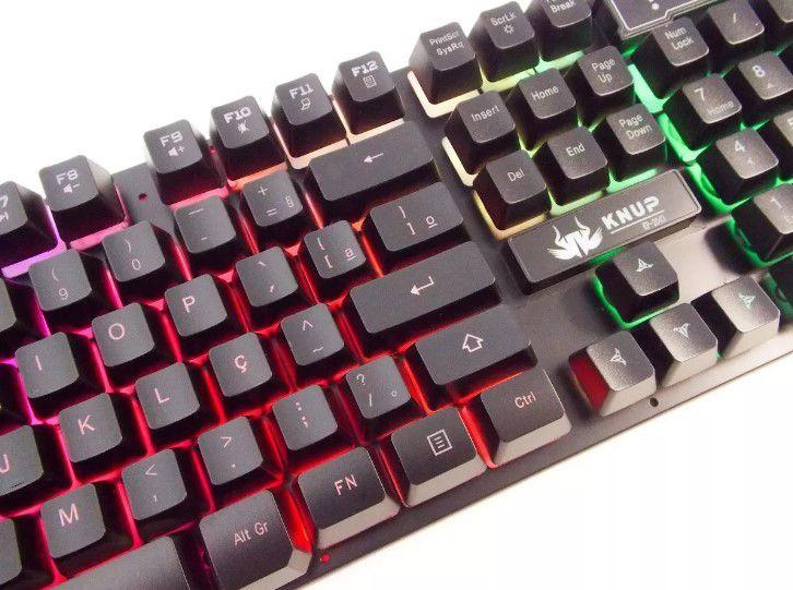 Teclado Gamer KNUP KP-2043 Semi Mecânico Ergonômico Com LED