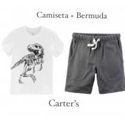 Camiseta Dinosaur Skeleton + Bermuda Cinza - Carters