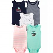 Kit 5 pçs Bodie Regata Sloth Tank - Carter's