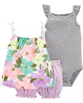 3-Piece Floral Little Short Set (Prazo entrega em até 40 dias para chegar Brasil + Postagem Brasil)