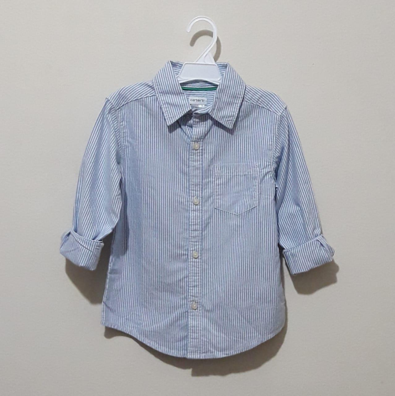 Camisa Manga Longa Listrada Azul Claro - Carter's