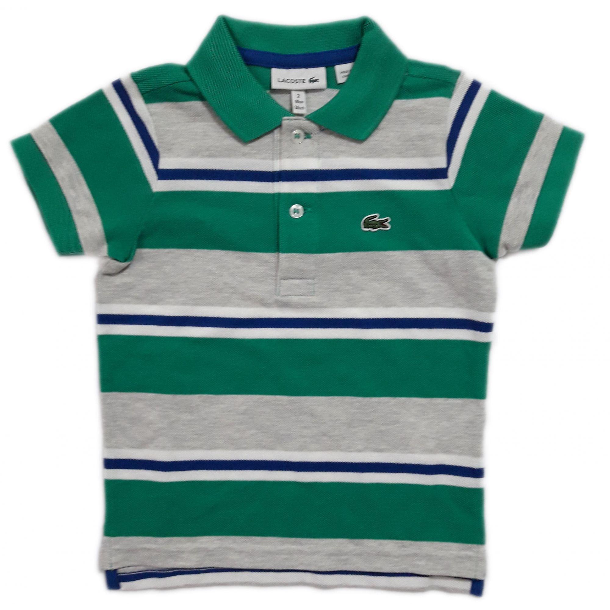 Camiseta PoloListrada Verde/Azul - Lacoste