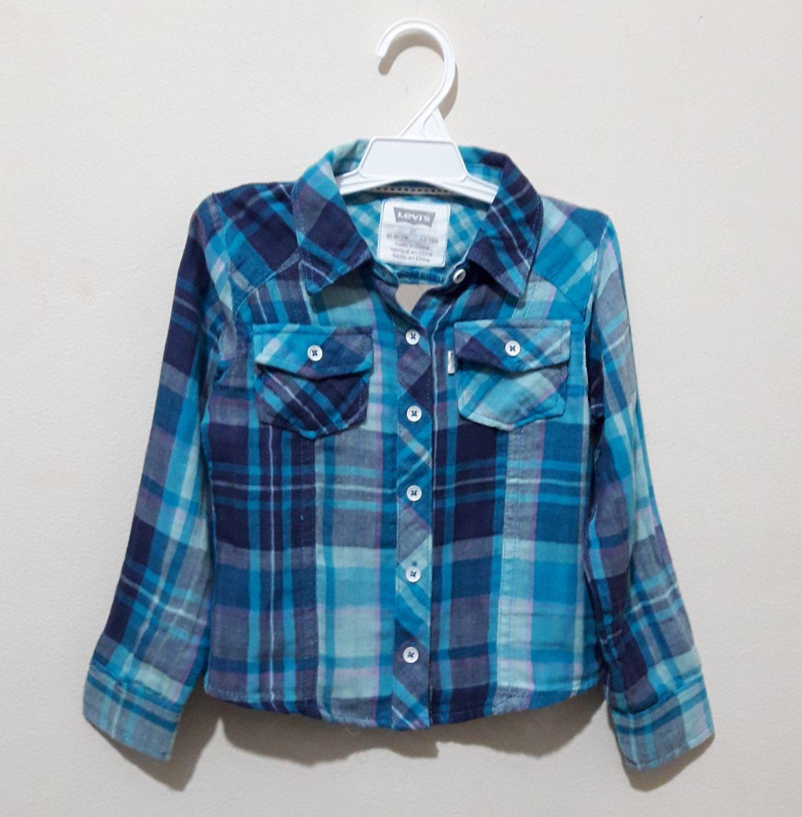 Camisa Infantil Xadrez Azul Levis - 2 anos