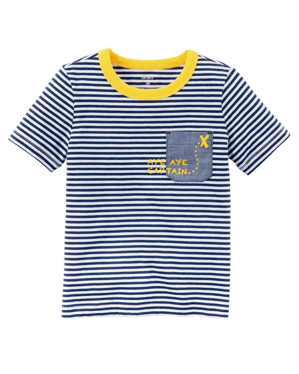 Camiseta Manga Curta Listrada Aye Aye - Carter's
