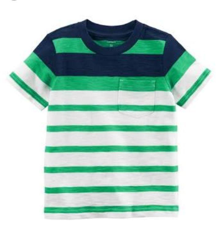 Camiseta Manga Curta Listrada Azul/Verde - Carters
