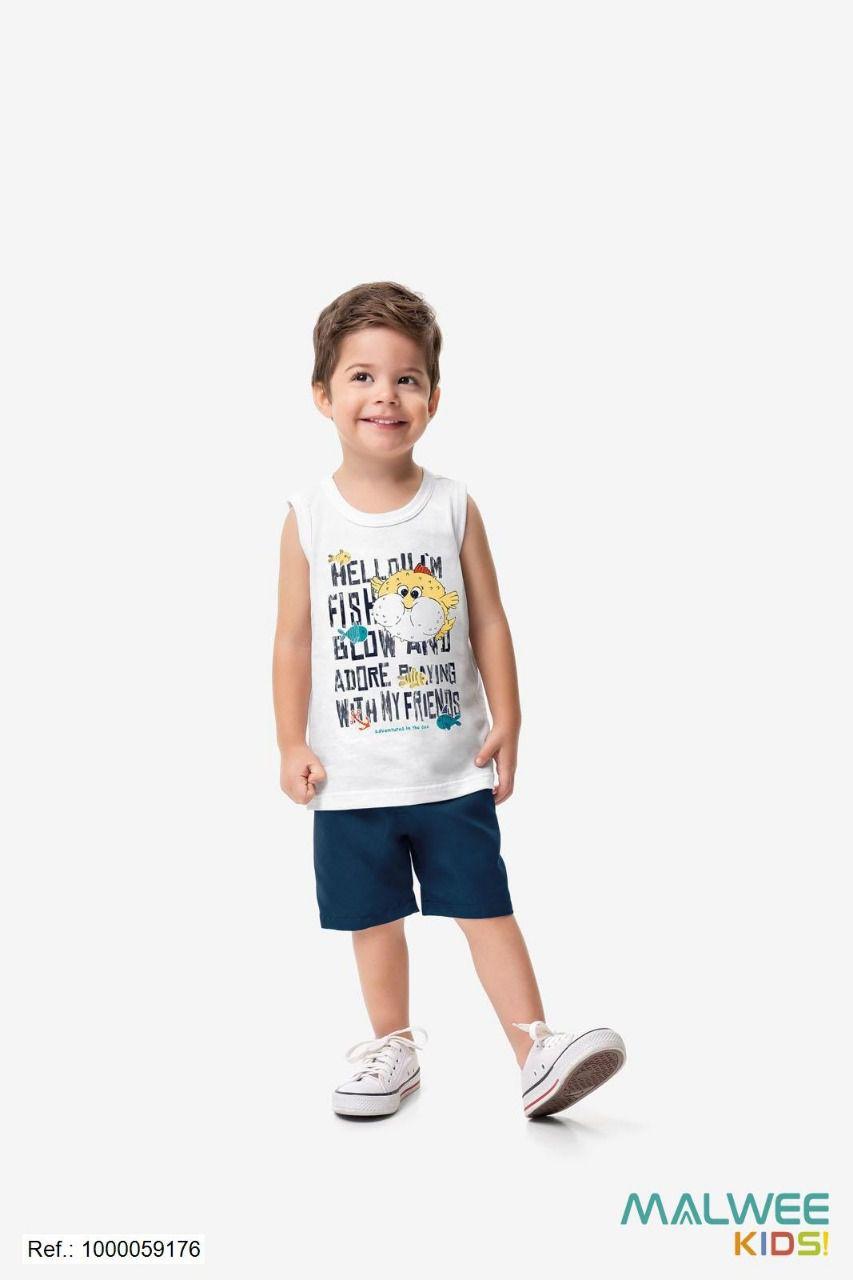 Conjunto Camisa Bermuda ZigzigZaa- Peixe