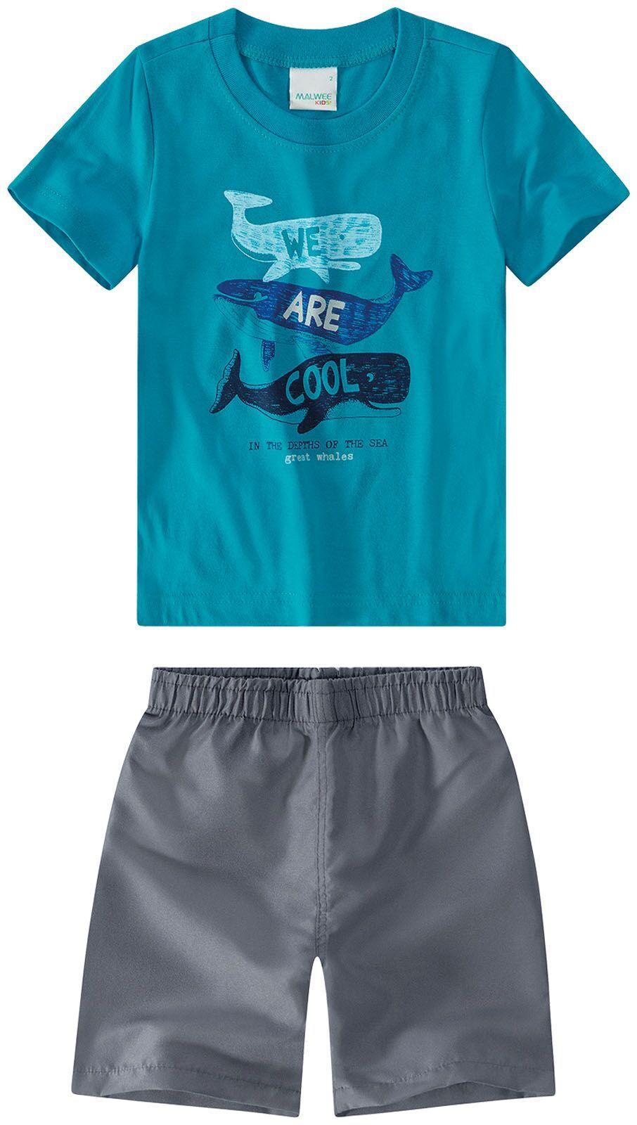 Conjunto Camiseta + Bermuda - Malwee - Estampa Baleia