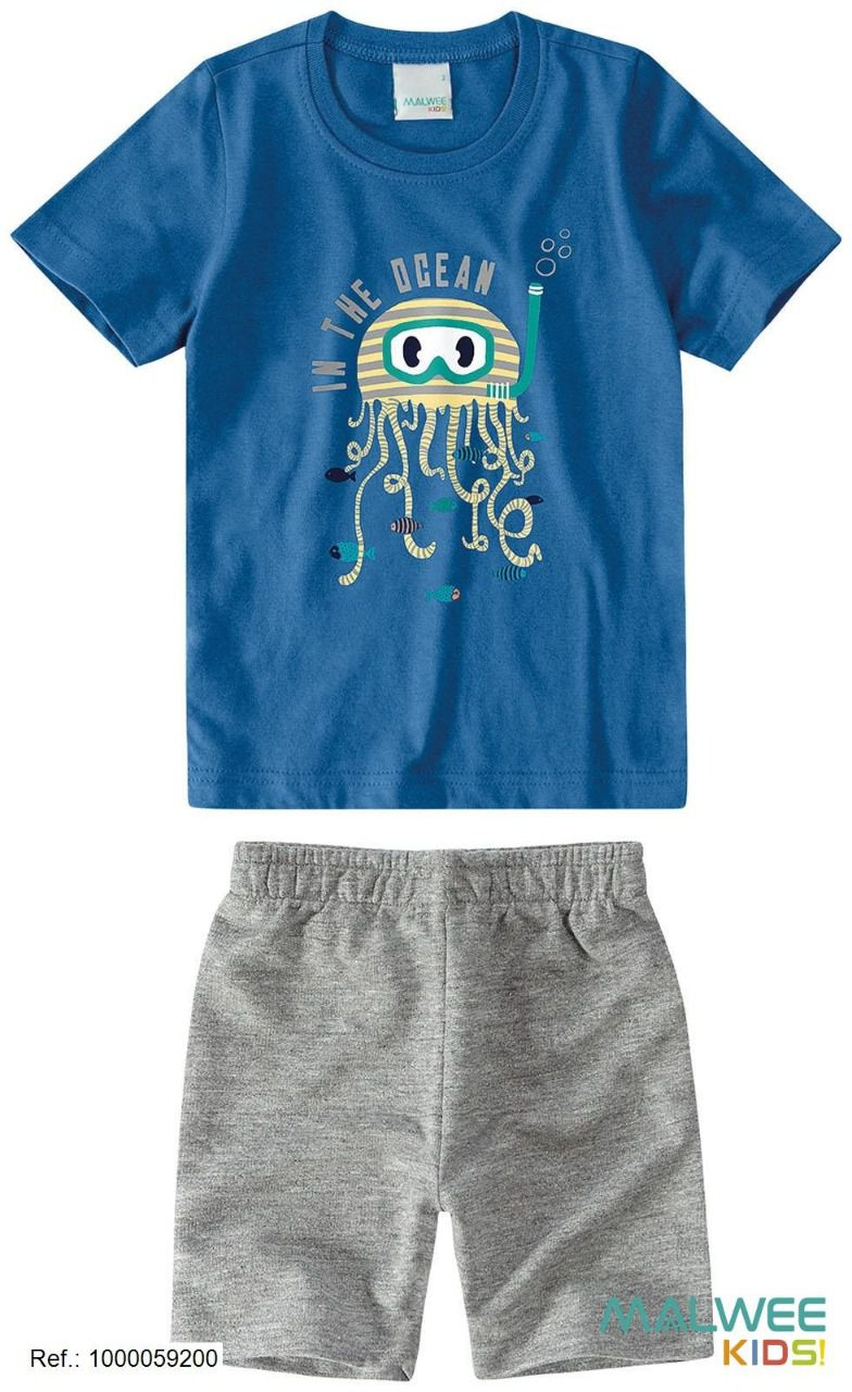 Conjunto Camiseta + Bermuda - Malwee - Estampa Submarino