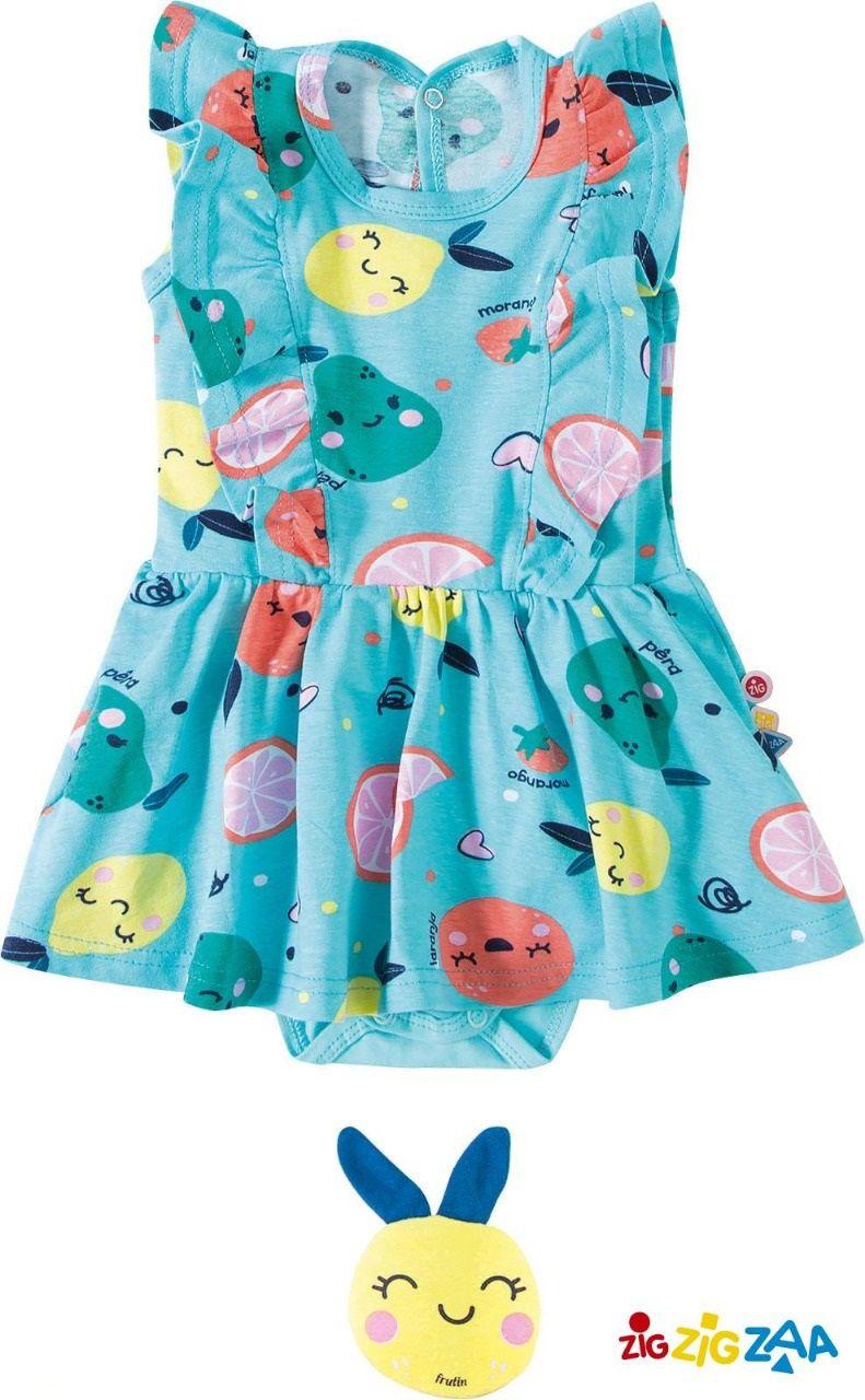 Conjunto Vestido com Calcinha e Mini Almofada Zigzigzaa Frutas