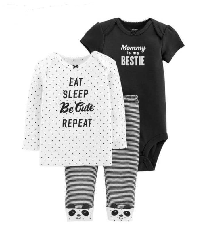 Kit 3 pçs Eat Sleep Be Cute - Carter's