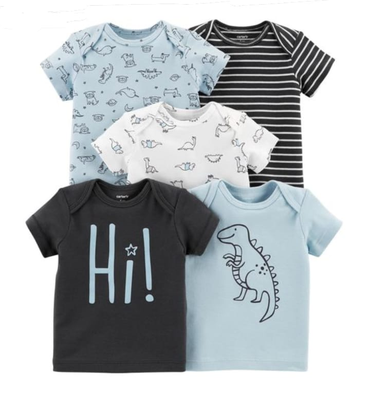 Kit 5 pçs Camisetas Manga Curta Hi Dino - Carter's