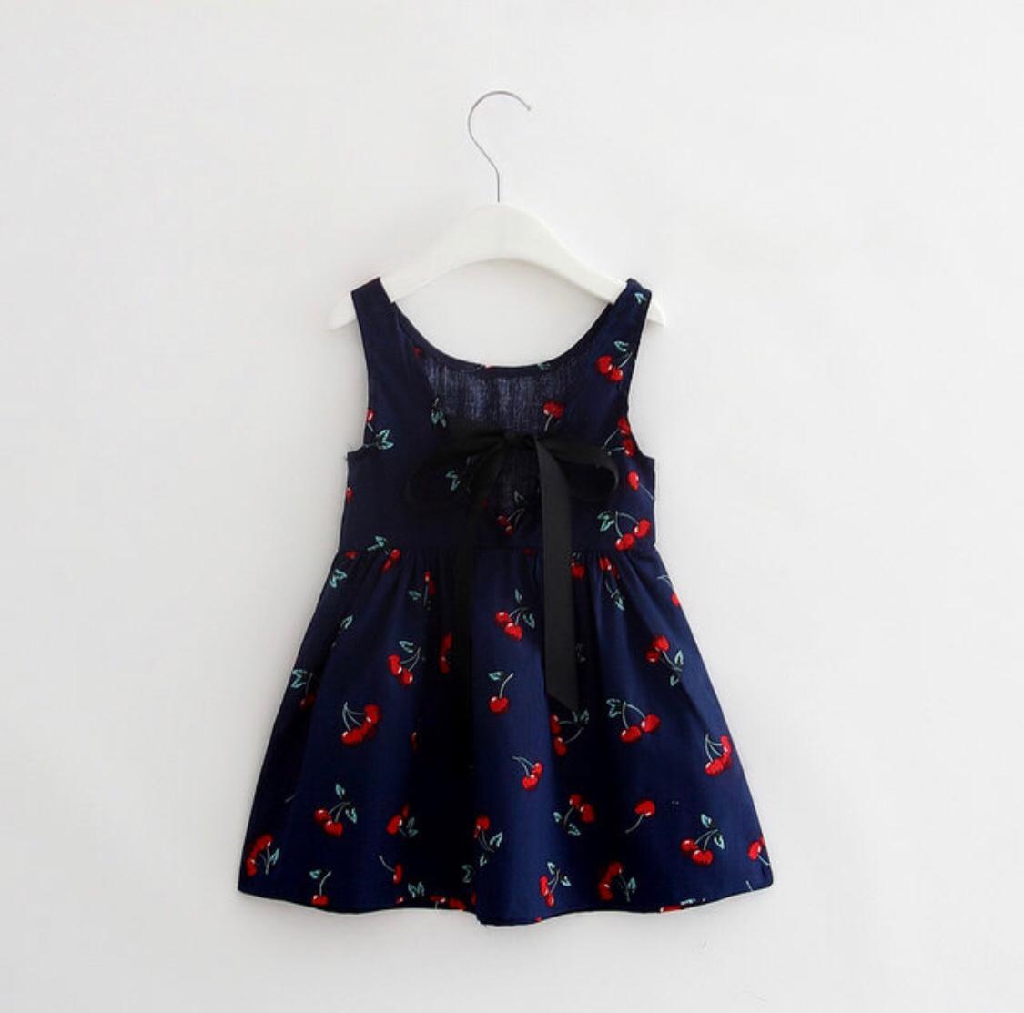 Vestido Azul Primavera/Verão Sem Manga , Cereja