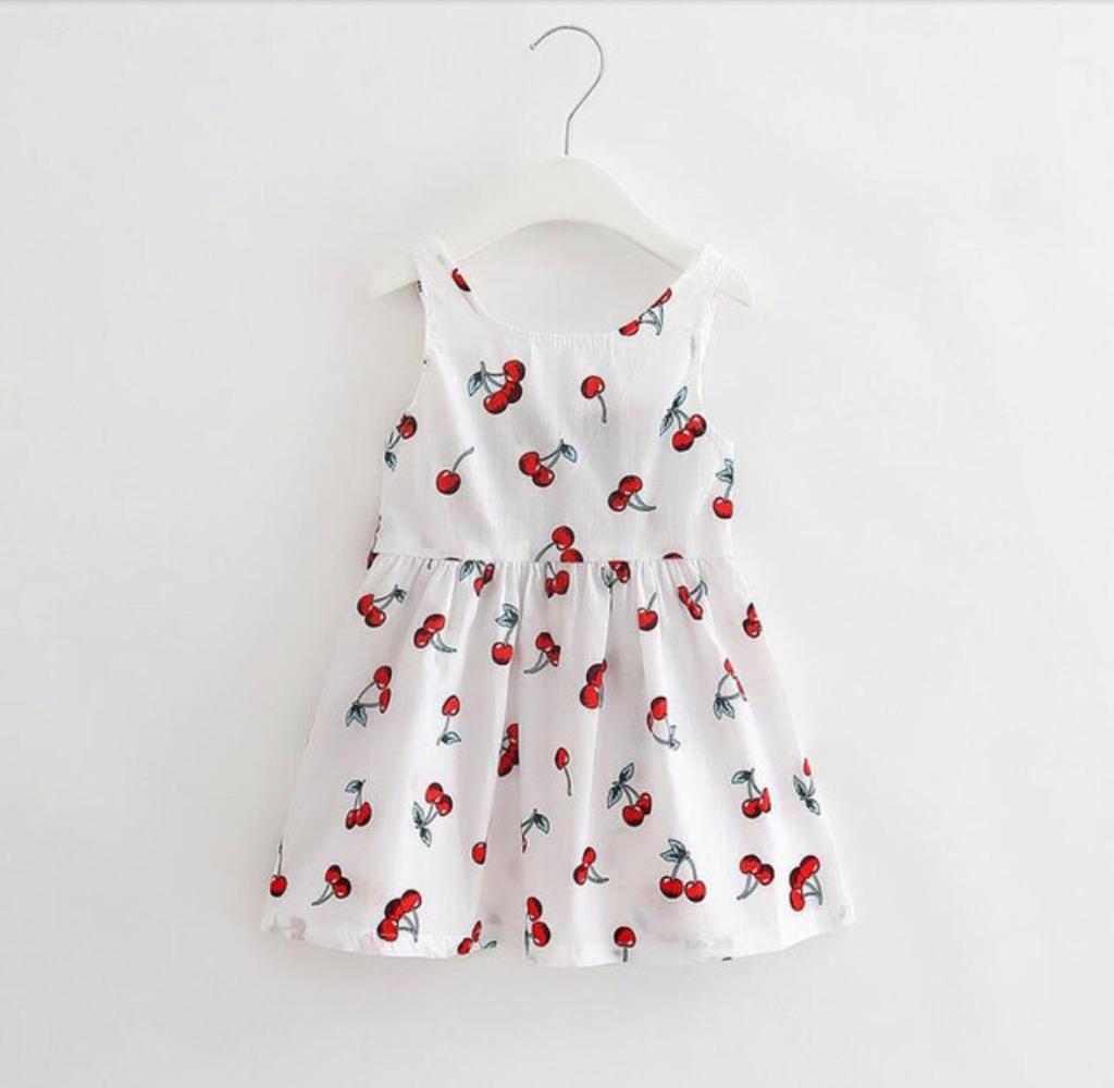 Vestido Branco Estampa Cereja Primavera/Verão Sem Manga