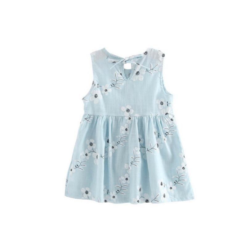 Vestido Sem Mangas Azul Florido - Spunk Kids
