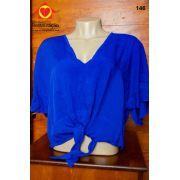 Blusa de Manga Curta Azul