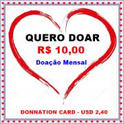 CARTÃO DE DOAÇÃO NO VALOR DE R$ 10,00
