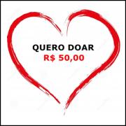Cartão de doação no valor de R$ 50,00