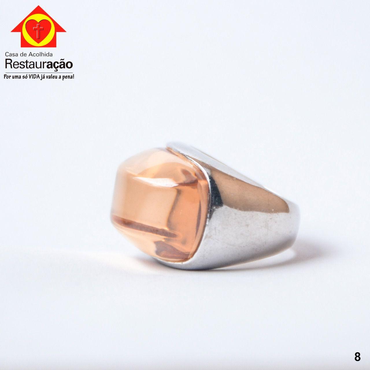 Anel Prata com Pedra Amarela