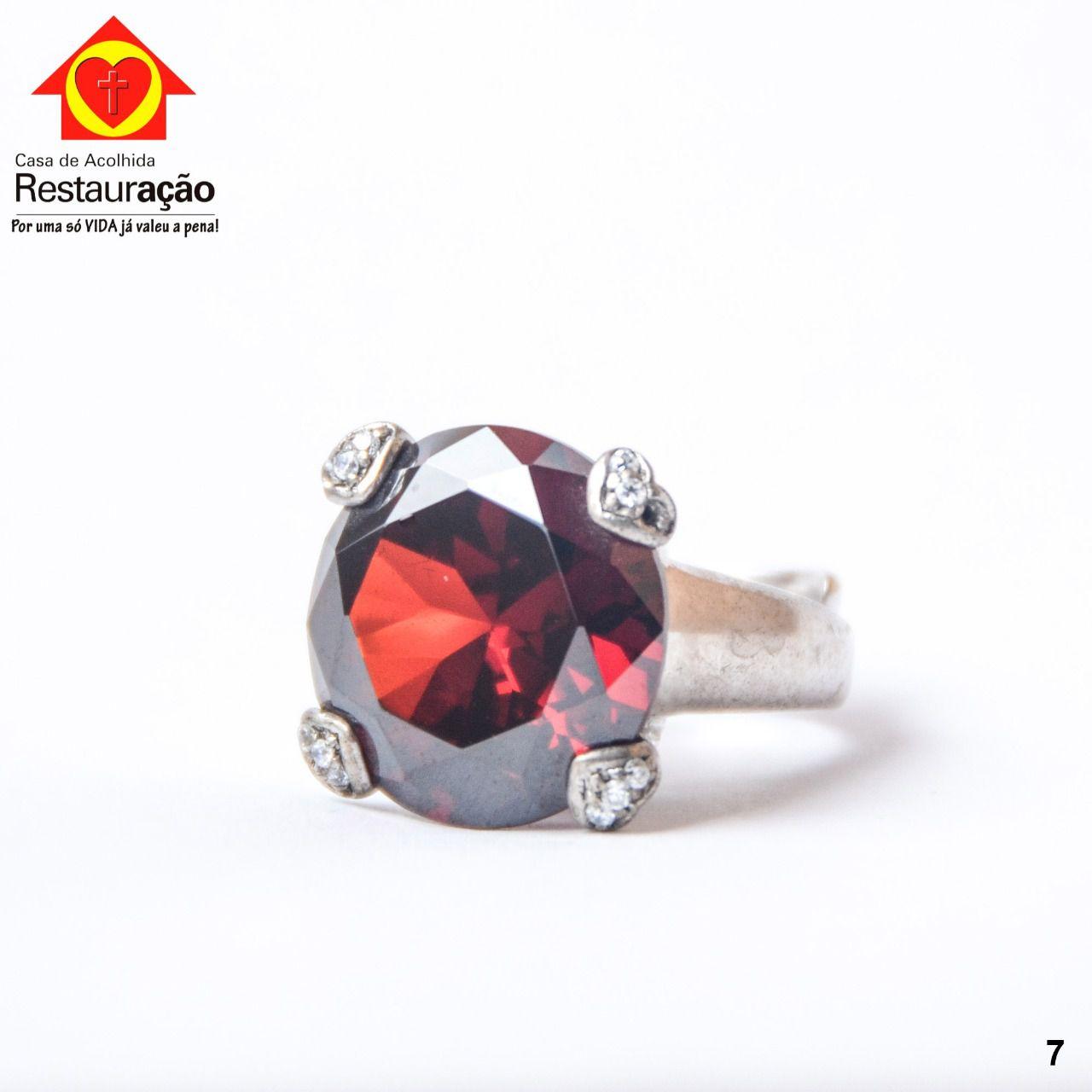 Anel Prata com Pedra Vermelha