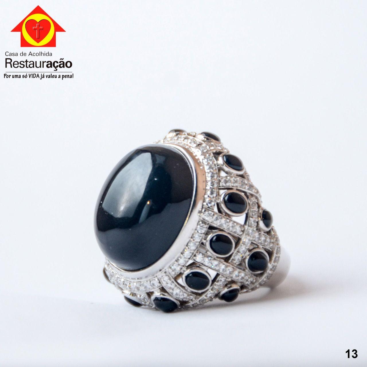 Anel Prata com Pedras Pretas
