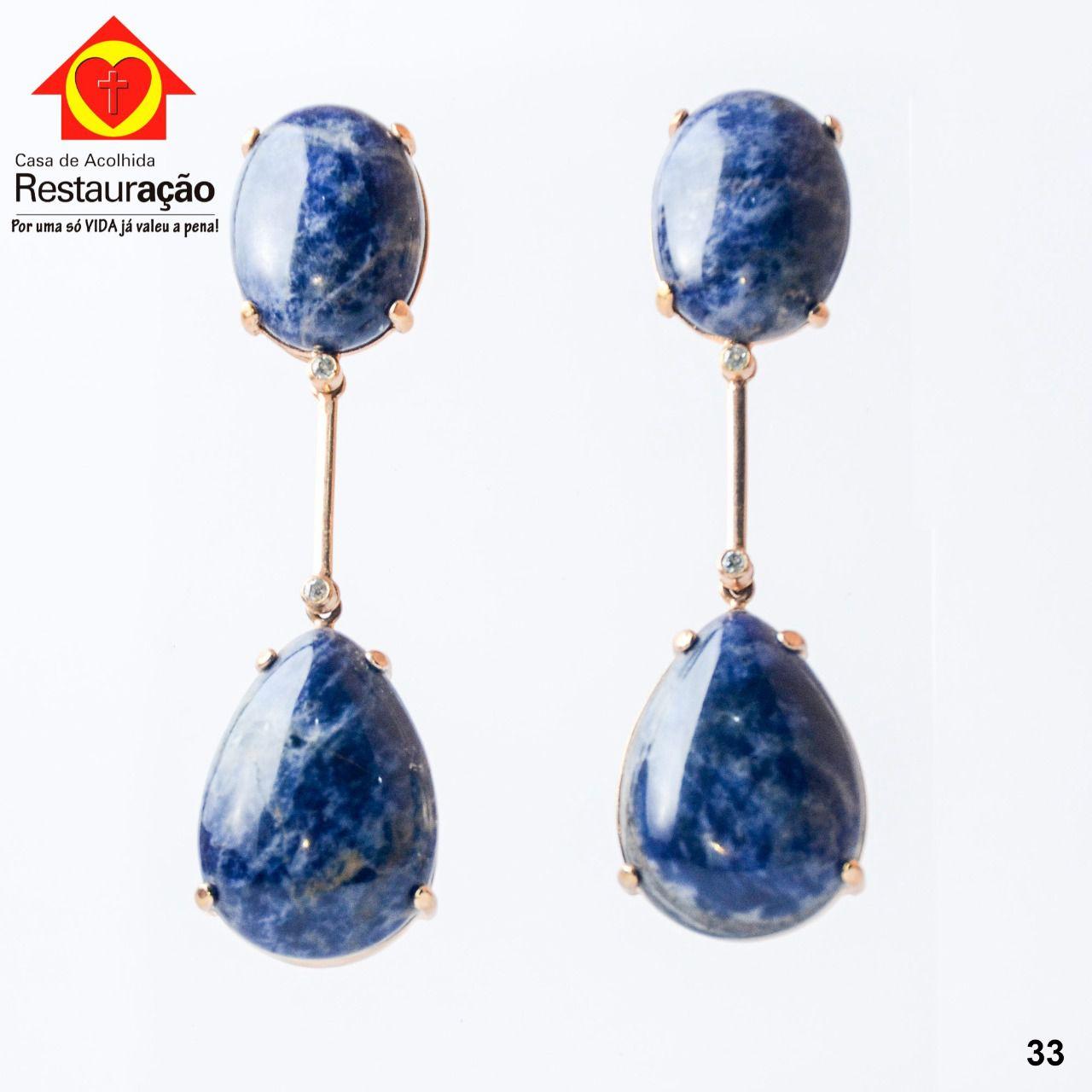 Brinco Dourado Pedra Gota Azul