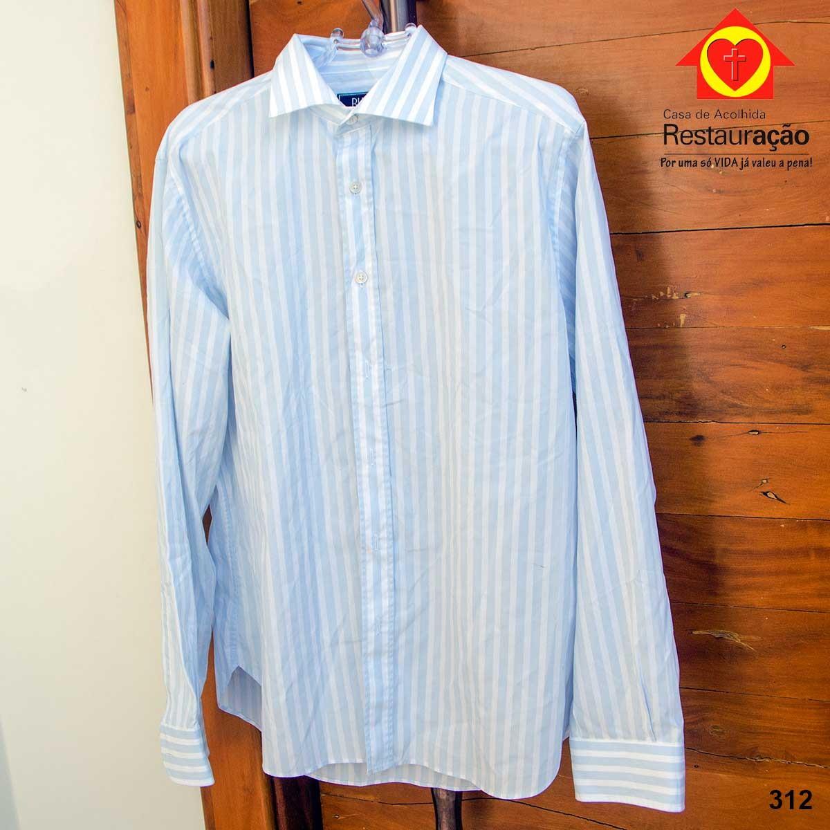 Camisa Manga Longa Azul e Branca