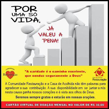 CARTÃO DE DOAÇÃO MENSAL NO VALOR DE R$ 30,00