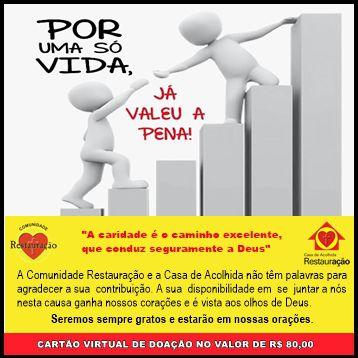 Cartão Virtual de Doação única no valor de R$ 80,00 / Donnation card in the amount USD 20,00
