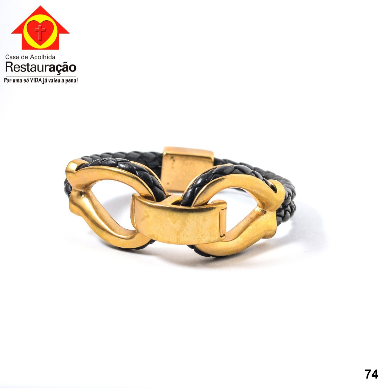 Pulseira Couro com Detalhes Dourado