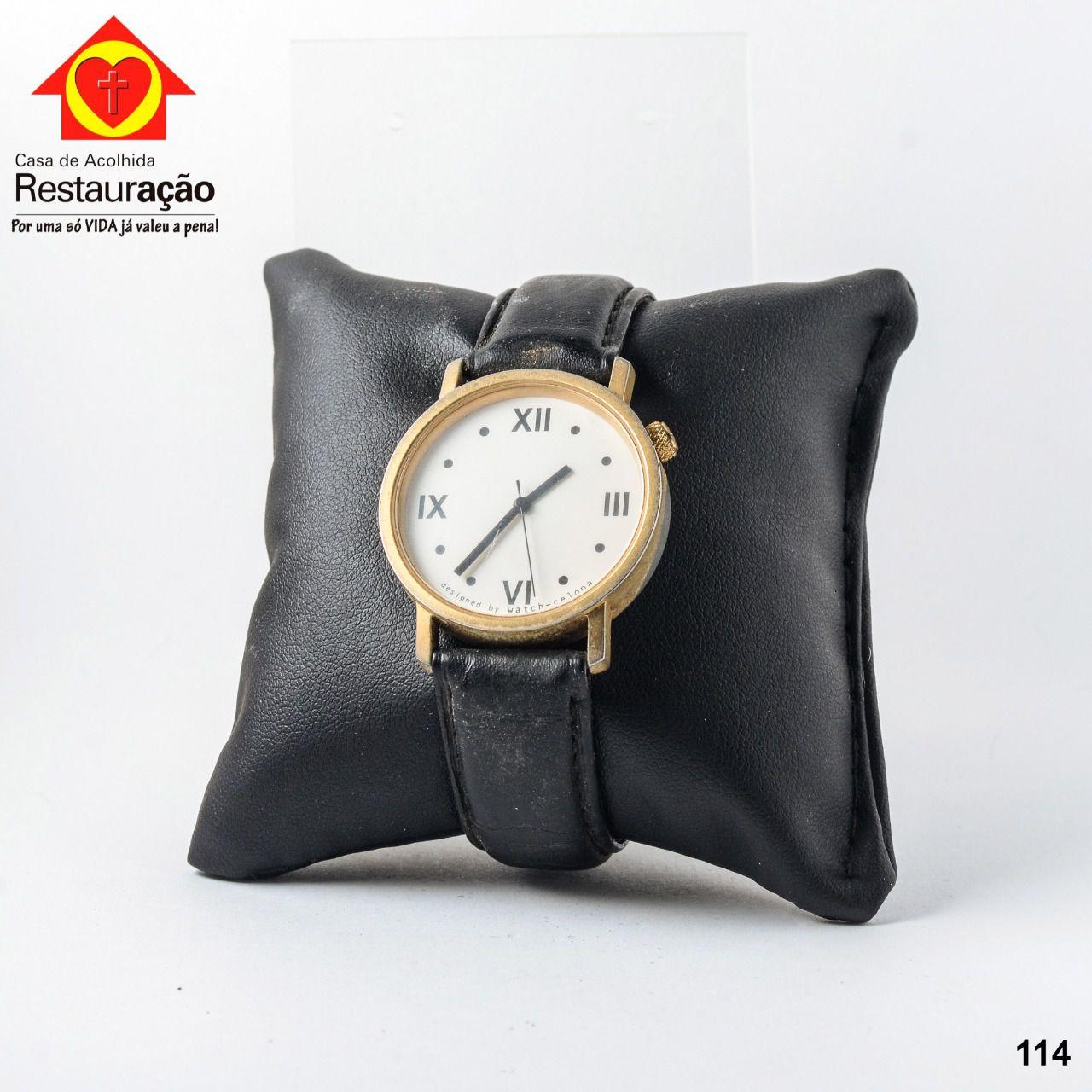 Relógio com Pulseira Preta Couro