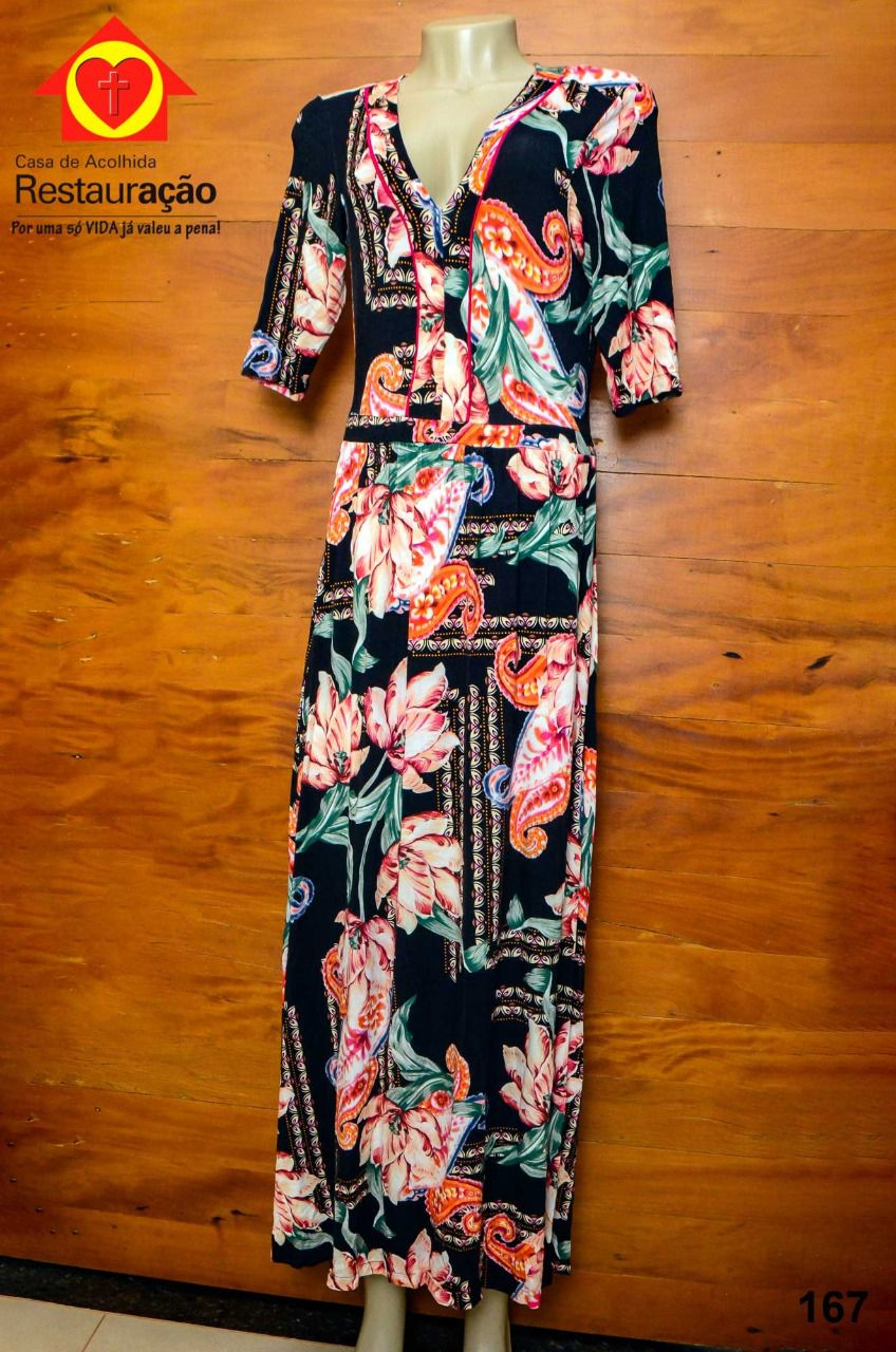 Vestido Floral Longo c/ Manga