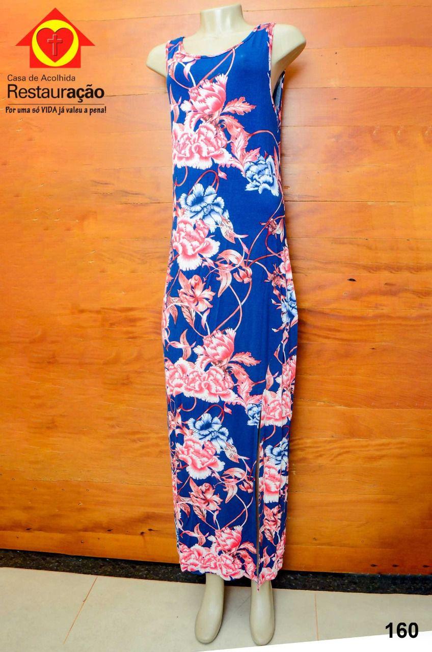 Vestido Longo Azul Floral